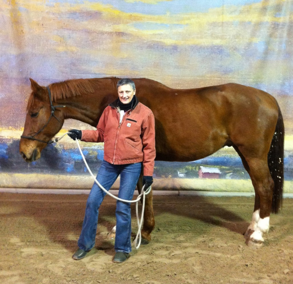 Karen and her lovely new horse - sweet, big and fun to ride!